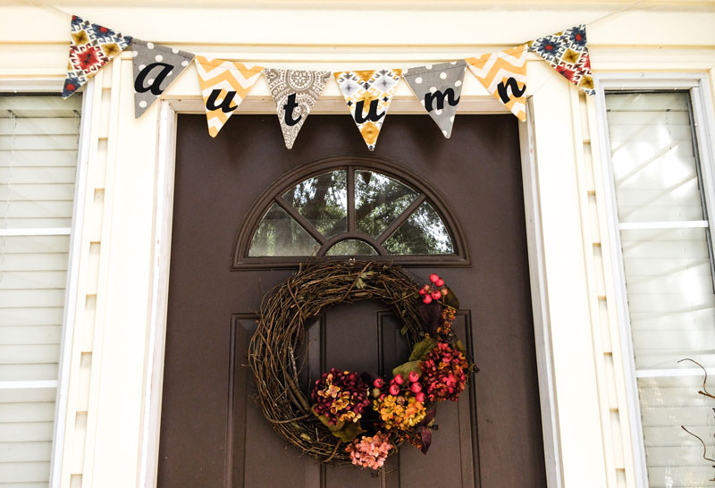 Fall Flag Banner and wreath Front Porch Tutorial